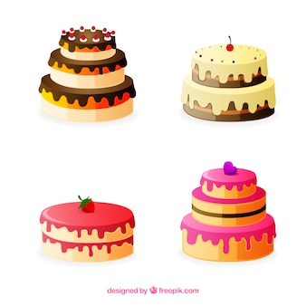 Delicious cakes collection with glaze