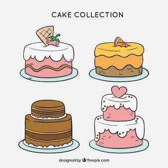Delicious cakes collection with glazed