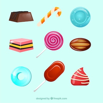 Delicious candies collection in 2d style
