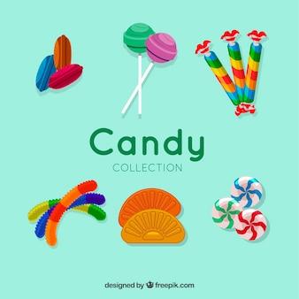 Deliziosa collezione di caramelle in stile piatto