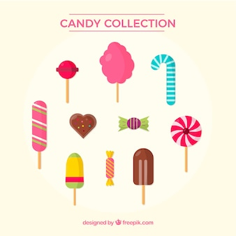 Delicious candies collection in flat style