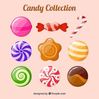 평면 스타일의 맛있는 사탕 모음