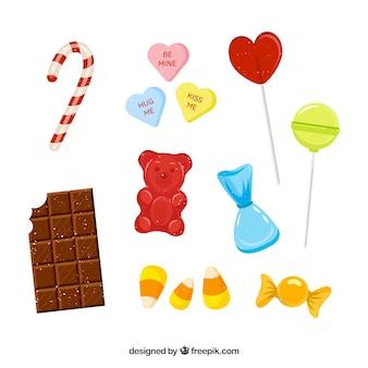 フラットスタイルのおいしいキャンディーコレクション