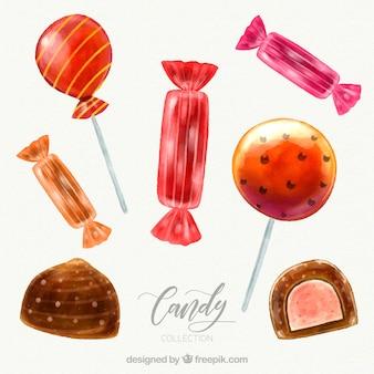 Вкусная конфета в акварельном стиле