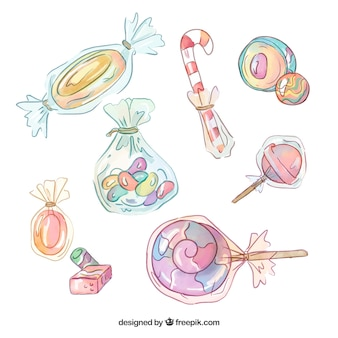 Delicious candies collection in watercolor style
