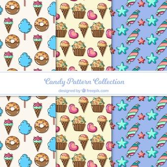Collezione di deliziosi modelli di caramelle in stile piano