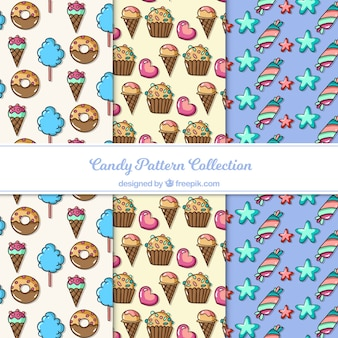 Delicious candies patterns collection in flat style