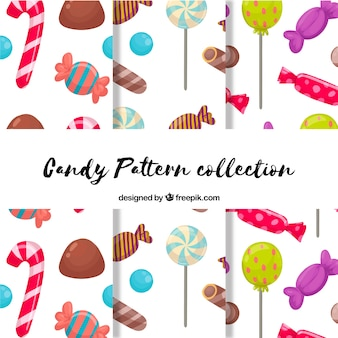 Delicious candies patterns collection