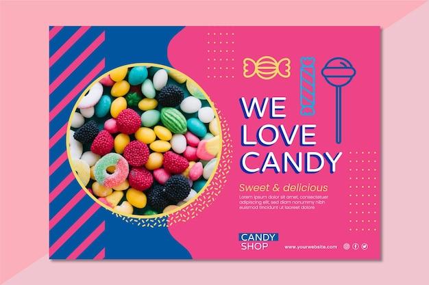 Modello di banner di deliziose caramelle