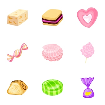 Delicious candy icon set, cartoon style