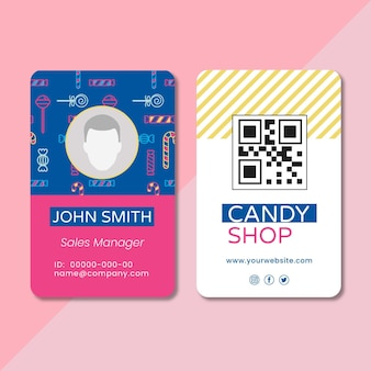 Modello di carta d'identità di caramelle deliziose