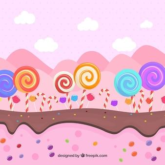 Вкусный фон из конфет в плоском стиле