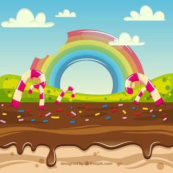 평면 스타일의 맛있는 사탕 땅 배경