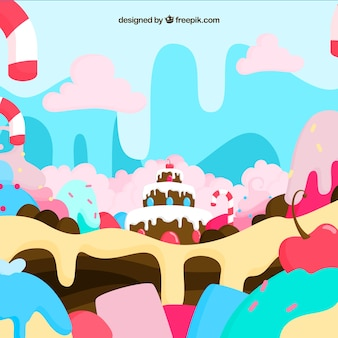 Delicious candy land background in flat style