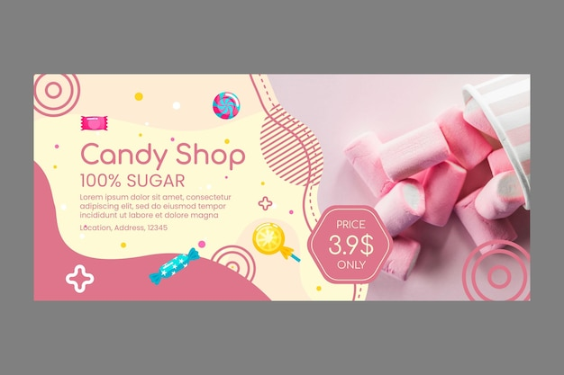 Delicious candy shop banner template
