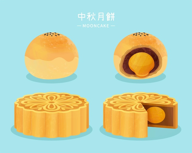 Delicious cantonese mooncake and yolk pastry in hand drawn style moon festival mooncake