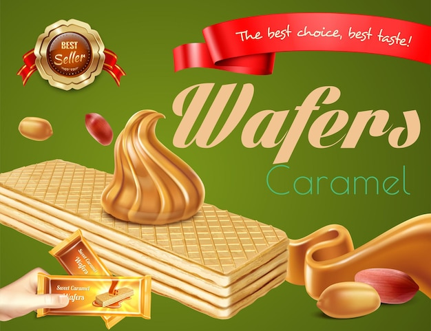 Delicious caramel wafers with nuts realistic advertisement on green background