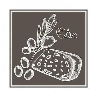 Вкусный сыр и оливковое изолированных значок