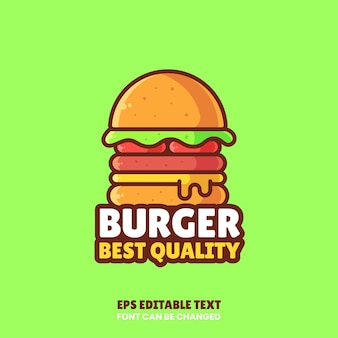 Delicious cheese burger logo vector icon illustrationpremium fast food logo in flat style