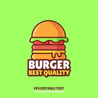 おいしいチーズバーガーのロゴベクトルアイコンイラストフラットスタイルのプレミアムファーストフードのロゴ
