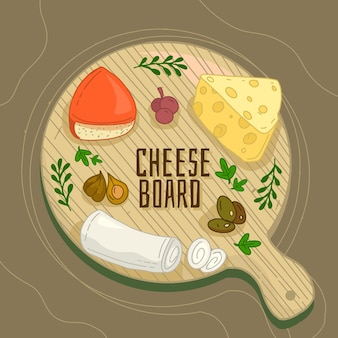Delicious cheese on wooden board