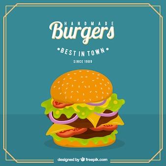 Delicious cheeseburger background