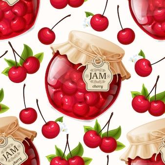 Delicious cherry jam background