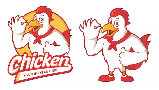 Delicious chicken restaurant logo template