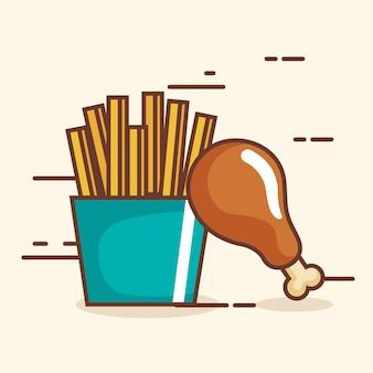 Вкусные куриные бедра и картофель-фри