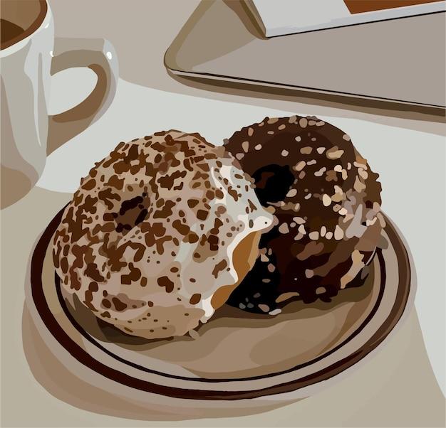Вкусные шоколадные пончики на тарелке.