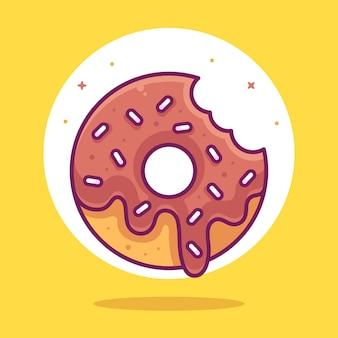 평면 스타일의 맛있는 초콜릿 도넛 음식 또는 디저트 로고 벡터 아이콘 그림