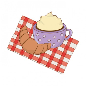 Delicious chocolate mug with croissant