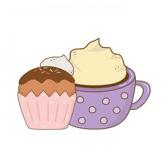 Delicious chocolate mug with cupcake