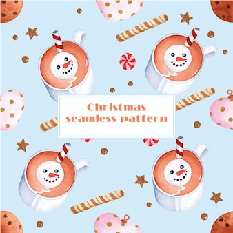 白い背景の上のおいしいクリスマスのシームレスなパターンの水彩要素