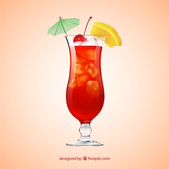 Delicious cocktail in realistic style