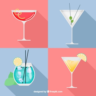 Delicious cocktails collection in flat style