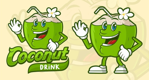 面白い漫画のキャラクターのおいしいココナッツドリンク