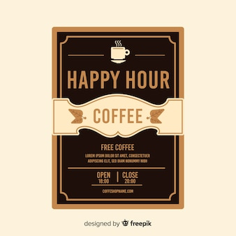 Delicious coffee happy hour poster template