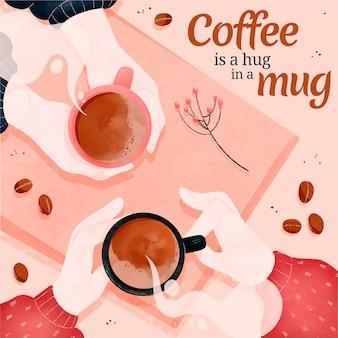 図解されたマグカップのおいしいコーヒー