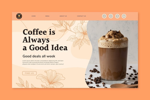 Delicious coffee landing page template