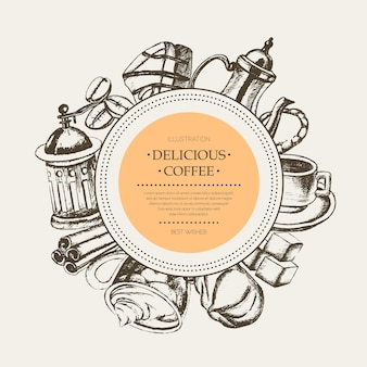 Вкусный кофе - монохромный вектор рисованной круглый баннер с copyspace. реалистичный зефир, чашка, печенье, мясорубка, чайник, торт, сахар, кофейные зерна, корица.