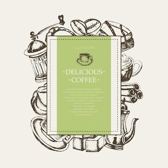 Вкусный кофе - монохромный вектор рисованной квадратный баннер с copyspace. реалистичный зефир, чашка, печенье, мясорубка, чайник, торт, сахар, кофейные зерна, корица.