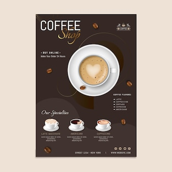 Delicious coffee shop poster template