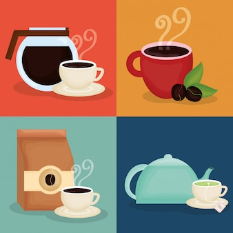 Delicious coffee and tea time icons