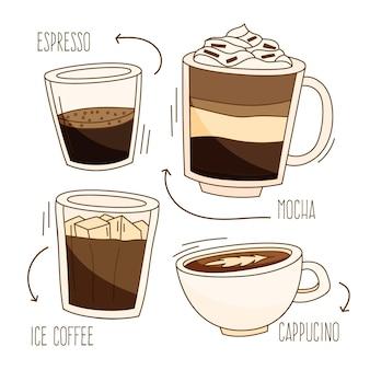 다양한 컵에 맛있는 커피 종류