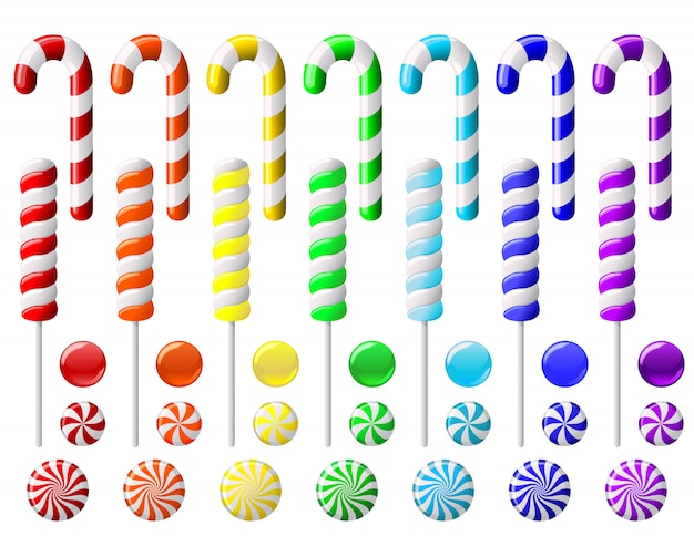 Delicious colorful lollipop collection.  set with colorful candies on white background
