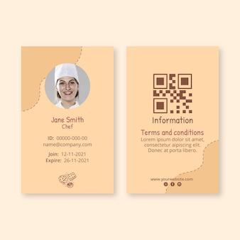 Modello di carta d'identità di biscotti deliziosi