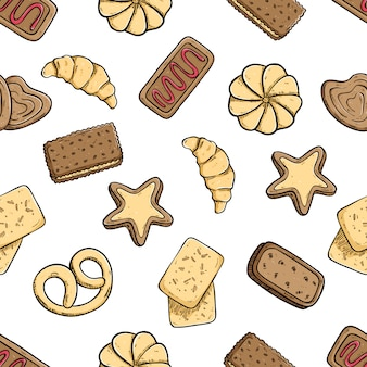 Delicious cookies in seamless pattern