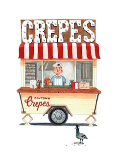 Delicious crepes pancakes wagon with pigeon  watercolor illustration