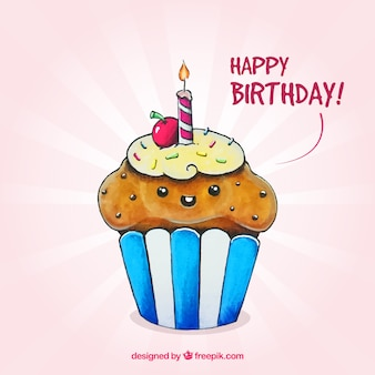 Delicious cupcake birthday background with a candle